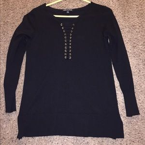Cable & Gauge lace up sweater